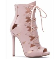 Shoe Dazzle Women's Dress Heeled Sandals 7.5 Blush Color Ankle Booties Brand New