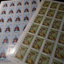 FEUILLE SHEET MONACO N°1076/1077 x30 CONCOURS DE BOUQUETS FLEURS 1976 COTE 140€