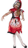 Zombie Red Riding Hood Smiffys Girls Kids Halloween Fancy Dress Costume 4-12