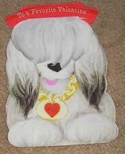 Vtg Pull Tab Action Hallmark Heart Sheepdog Favorite Valentine Day Card pop up