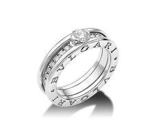 Bulgari B.ZERO1 solitaire ring 18 kt white gold with round brilliant cut diamond