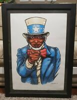 2009 Signed I Want You Black American Uncle Sam Art Framed Lithograph LE #39/60
