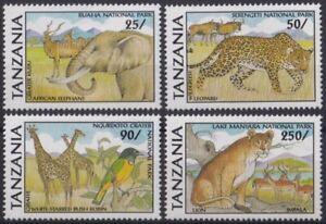 F-EX24243 TANZANIA MNH WWF NATIONAL PARK LION GIRAFEE LEOPARD ELEPHANT.