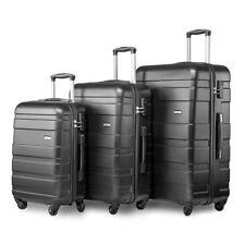 Merax Set of 3 Light Weight Hardshell Travel Trolley Suitcase Luggage Case Black