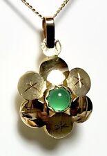 Rare Elegant 18k yellow gold Emerald Star Reversible Pendant! With18k Chain!