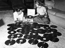 1948 Teenage couple playing records on shag carpet floor 8 x 10 Photograph