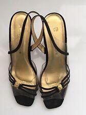Vintage 90's Cinderella's black satin with clear plastic sandals Size 9 M