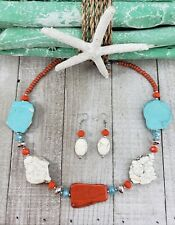 Chunky Turquoise Slab Necklace w/ Tiana Crystals in Shades of Aqua & Coral
