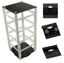 """Rotating Earring Hanging Card Display Stand with 100 x 1.5"""" Black Hanging Cards"""