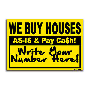 Bundle 100qty - We Buy Houses As-Is & Pay Cash - Bandit Signs, Black & Yellow