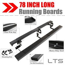 """78""""Black Mega Running Boards for 2007-2017 Toyota Tundra Double Cab/Extended Cab"""