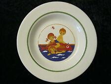 DDR / GDR Colditz Keramik Teller für Kinder - Kinder beim Baden mit Fisch