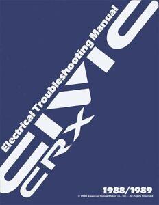 1988 1989 Honda Civic CRX Electrical Troubleshooting Diagnostic Service Manual