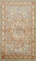 Floral Savonnerie Oriental Transitional Area Rug Wool/ Silk Hand-knotted 4'x6'