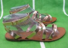 new ladies Summer light Gold ANKLE STRAP Sexy Cool Shoes Sandals Size 8