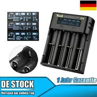4 Slots LCD Akku Ladegerät + USB Kable für 18650 21700 Lithium Nimh Batterie DE