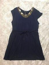 Lane Bryant women's size 22/24 blue gold SEQUIN/BEADED short sleeve dress w/belt