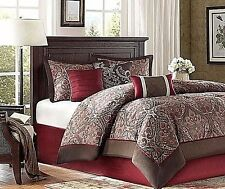 Comforter Set Bed Cover California King Size Cal Red Brown Sets Bedding Paisley
