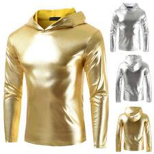 Men's Metallic Shiny Hoodies Top Clubwear Long Sleeve Pullover Hoody Top T Shirt