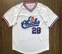 Bo Jackson #28 Chicks Movie Men Baseball Jersey Stitched White S-3XL