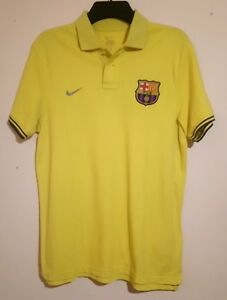 FC BARCELONA FOOTBALL CLUB YELLOW POLO SHIRT NIKE SIZE L VGC BARCA FCB SPAIN ESP