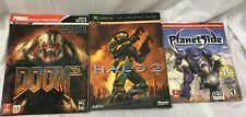 Lot of (3) PC Xbox Game Strategy Guides Doom 3 Halo 2 Planet Side Prima