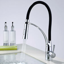 Modern Kitchen Sink Mixer Taps Black Rubber Chrome 360 Degrees Swivel Brass Tap