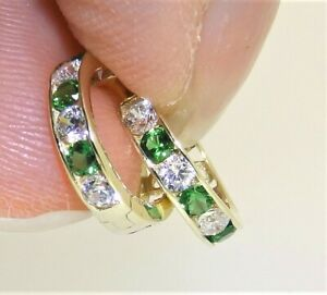 9CT YELLOW GOLD DIAMOND EMERALD CUFF HUGGIE HOOP EARRINGS 9 CARAT  SMALL