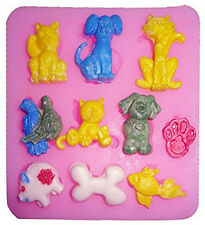 Pets Animals 10 Cavities Silicone Mold for Fondant, Gum Paste, Chocolate, Craft