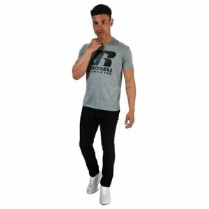 Men's Russell Athletic Logo Printed Regular Fit Cotton T-Shirt in Grey