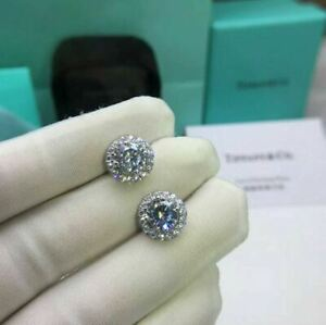 2.20Ct Round Cut Moissanite Halo Stud Earrings Screw Back 18K White Gold Finish