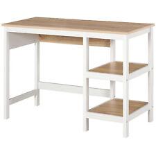 HOMCOM Schreibtisch mit 2 Ebenen Regal Computertisch Bürotisch MDF Natur+Weiß