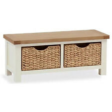 Daymer Small Bench with Baskets / Off White Small Chest / Oak Top Blanket Box