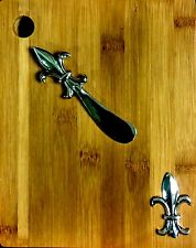 """New Wooden Cheese Board Set - 8.75"""" Rectangle with Fleur-de-lis Knife"""
