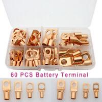 60 pcs Copper Tube Terminals Battery Welding Cable Lug Ring Crimp Connectors Kit