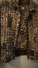 JACKET & BLOUSE SET Expensive Pucker Stretch to Fit Animal Print Reversible