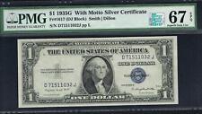 $1 1935G  Silver Certificate. Fr.1617. DJ Block. With Motto PMG 67 EPQ.