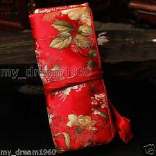 Red SILK Jacquard JEWELRY TRAVEL BAG Roll Pouch Brocade Fabric Zipper Purse