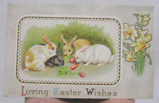 Vintage Easter Postcard 1914 Bunnies Rabbits Eating Carrots Daffodils Posted