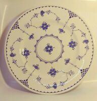 """Vtg Furnivals 10"""" Dinner Plate Denmark Blue White England Lace"""