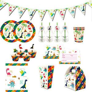 98pcs New Dinosaur Decoration Theme Party Supplies Set for 12 Kids Child Boys