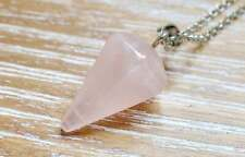Unconditional Love Pendant Rose Quartz Stone Reiki Prayer Yoga Natural Gemstone