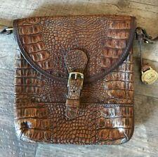 Brahmin croc printed genuine Leather Preston crossbody bag in Chocolate Whitney