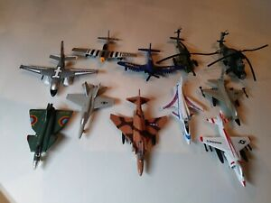 9 Military Aircraft Diecast 2 Helicopters 1 Plastic Lot of 12 Vintage Airplanes