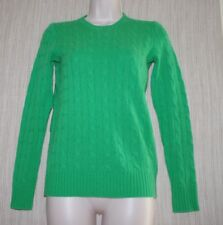 Polo Ralph Lauren Cashmere Green Cable Knit Women Crew Neck Sweater Size: XS