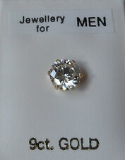 9ct GOLD Stud Earring 5mm Round created Diamond Men's Boy's Women's Made in UK