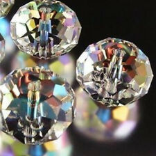 150pcs Multicoloured Clear +AB Crystal Faceted Loose Beads 3x4mm