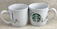 Starbucks 2 Mug Lot Holiday Collection 2013 Mermaid Siren Logo Gold Snowflakes