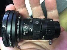 "kood 8mm C-Mount Lens 1/2"" 1:1.4+Step Up Rings 49-52mm 37-49mm 30-37mm Camerapix"