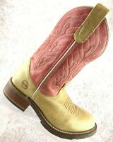 Double H Tan Leather Pull On Western Cowboy Work Boots Women's Size 6.5 M